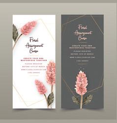 Floral wine flyer design with ptilotus flower vector