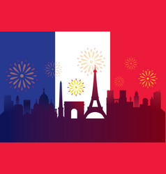 france flag with landmarks skyline celebration vector image
