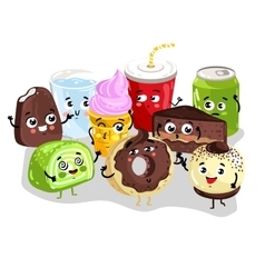 Funny sweet food and drink character set vector image