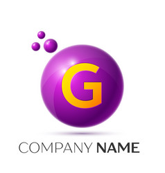 G letter splash purple dots and circle bubble vector