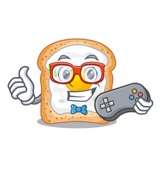 Gamer sandwich with egg above character board vector