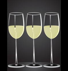 glasses white wine on table with dark background vector image