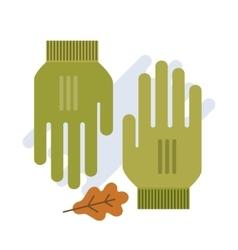 Green gloves flat vector