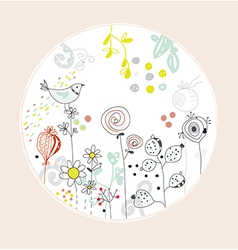 Greeting card with flowers bird - circle design vector image