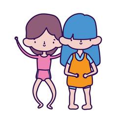 group little girls friends cartoon character vector image