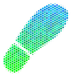 Halftone blue-green boot footprint icon vector