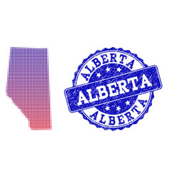 Halftone gradient map of alberta province and vector