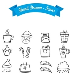 Hand draw collection christmas icon vector