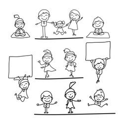Hand drawing cartoon happy business people vector