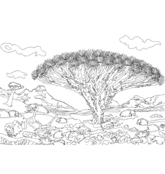 Hand drawing ornamental landscape trees and stones vector image