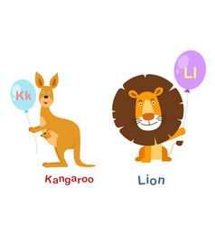 isolated alphabet letter k-kangarool-lion vector image