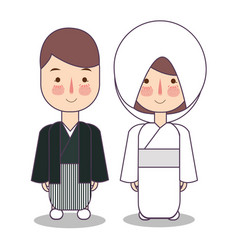 Japanese wedding couple cute japan traditional vector