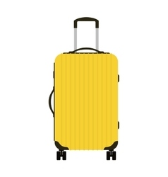 Journey suitcase travel yellow bag trip baggage vector image