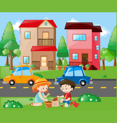 Kids planting tree in the yard vector