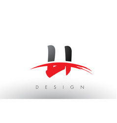 li l i brush logo letters with red and black vector image