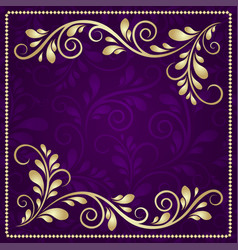 Luxury gold pattern frame on a beautiful violet vector