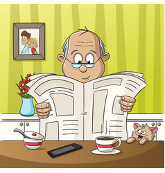 man is reading a newspaper vector image