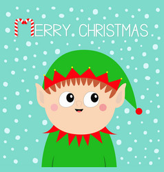 Merry christmas santa claus elf head face icon vector
