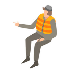 migrant man in life vest icon isometric style vector image