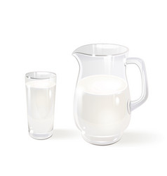 Milk in a glass jug and a glass vector