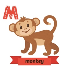 Monkey M letter Cute children animal alphabet in vector