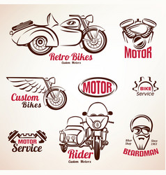 Motorbikes emblems and labels set retro motorcycle vector
