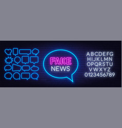 neon fake news sign on brick wall background vector image