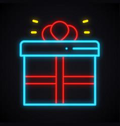 neon gift box sign prize present win reward vector image