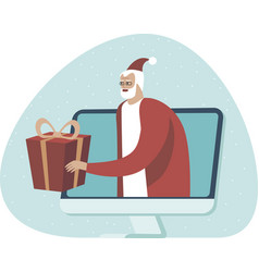 online shopping and fast delivery on christmas vector image