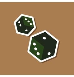 Paper sticker on stylish background poker dice vector