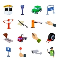 Parking zone set icons in cartoon style Big vector image