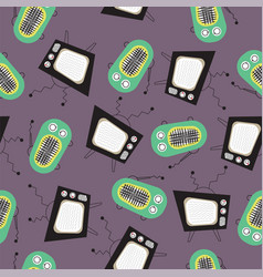 pattern retro television and vintage radio on gray vector image