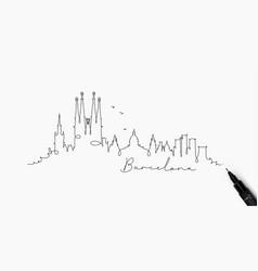 pen line silhouette barcelona vector image