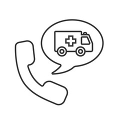 Phone call to ambulance linear icon vector