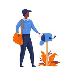 postman delivering letters mailman in blue vector image