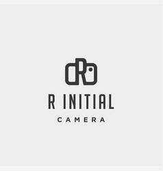 R initial photography logo template design vector