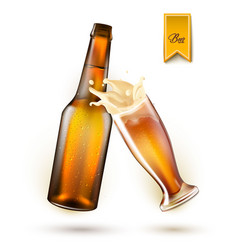 realistic beer bottle splashing from glass vector image vector image