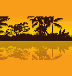 River scenery on jungle scenery silhouette vector