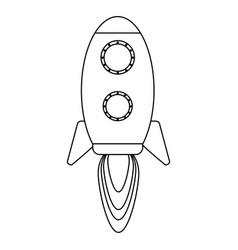 rocket taking off symbol black and white vector image