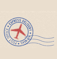 Round blue postmark with red airplane symbol on vector