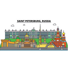 Russia saint petersburg city skyline vector