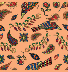 seamless pattern 2 of animal and plant ornament vector image