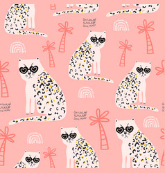 seamless pattern with hand drawn cheetah creative vector image