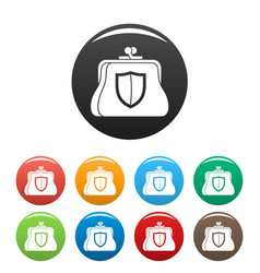 secure purse icons set color vector image