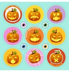 set nine icons pumpkin with different face vector image
