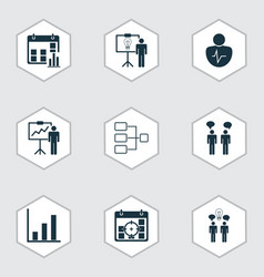 Set of 9 board icons includes solution vector