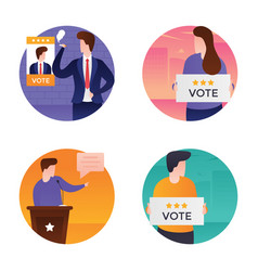 set of election day flat vector image