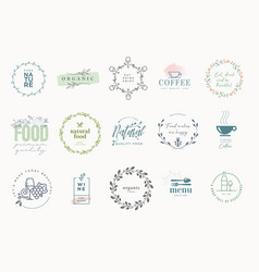 set signs for food and drink vector image