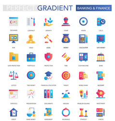 set trendy flat gradient banking finance vector image