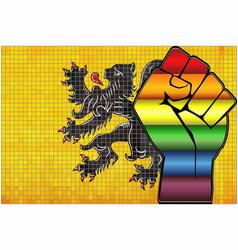 Shiny lgbt protest fist on a flanders flag vector